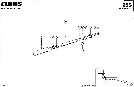 ГИДРОЦИЛИНДР, ВЫКЛЮЧАТЕЛЬ ИЗМЕЛЬЧИТЕЛЯ СОЛОМЫ - CLAAS LEX 410-405