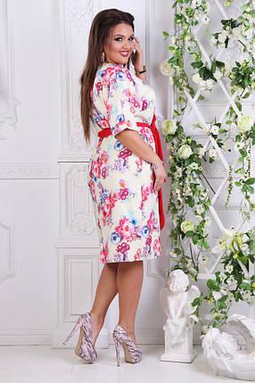 """Нарядное платье летучая-мышь """"OKSY"""" с карманами и цветочным принтом (большие размеры), фото 2"""