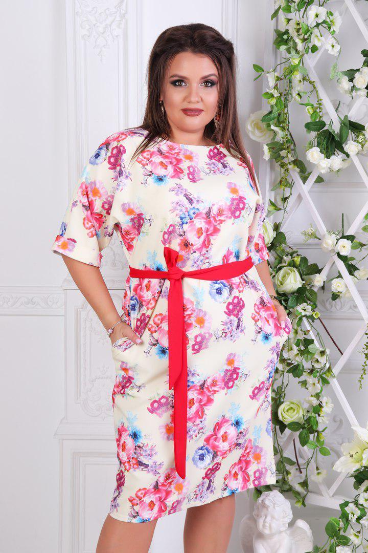 """Нарядное платье летучая-мышь """"OKSY"""" с карманами и цветочным принтом (большие размеры)"""