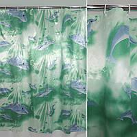Шторка для ванной и душа ( штора занавеска миранда) зеленая с дельфинами 180х180