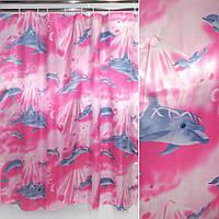 Шторка для ванной и душа ( штора занавеска миранда) малиново-молочная с дельфинами 180х180
