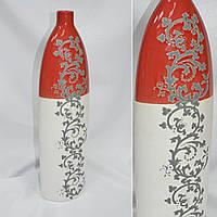 Ваза керамическая молочный красная с рисунком 47см