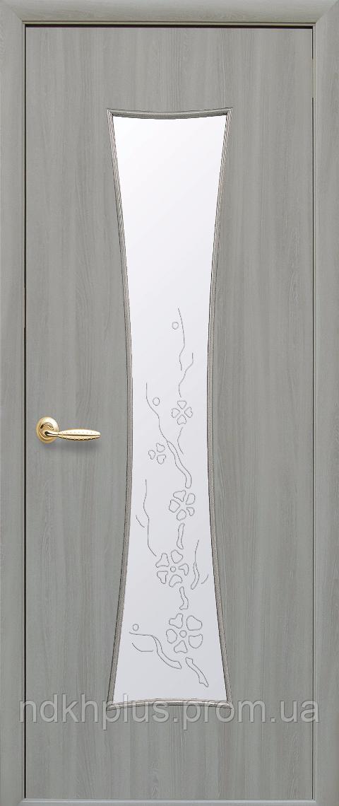 Двери межкомнатные Часы экошпон со стеклом сатин с рисунком