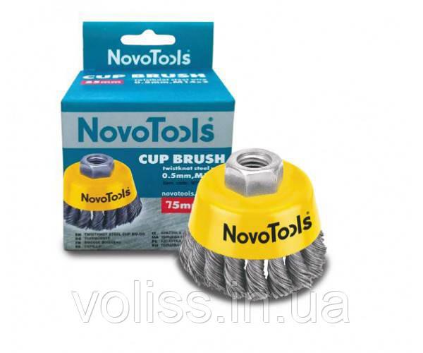 Щётка по металлу торцевая, плетёная проволока, сталь NovoTools, 75мм