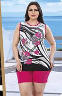 Женский комплект майка и шорты большого размера