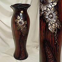 Ваза керамическая тем коричневый с зауж.дном и ажурн.верхом 60 см