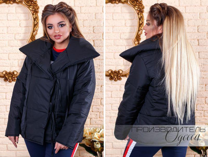 Женская весенне-осенняя куртка на завязках недорого интернет-магазин  доставка Украина Россия СНГ р.48-54 d59fc7a3e60