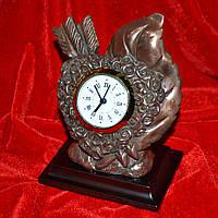 Часы настольные про сердце латунные 13см