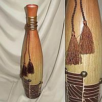 Ваза керамическая светло беж бутылка с коричневый отделкой и бантом 50см