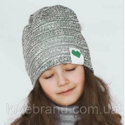 Двойная демисезонная шапочка для девочки в сером цвете