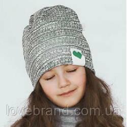 Двойная демисезонная шапочка для девочки в сером цвете 50 см