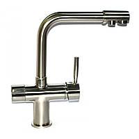 Трипозиційний змішувач вода + осмос на кухонну мийку нержавійка глянець