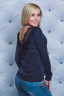 Кофта женская с кружевом джинс, фото 1