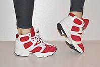 Ботиночки кроссовки высокие  красные  премиум, фото 1