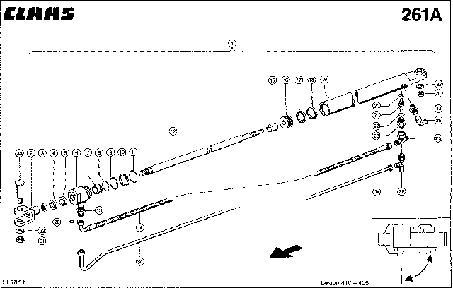 HYDRAULIC CYLINDER; GRAIN TANK UNLOAD. - CLAAS LEX 410-405