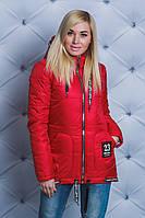 Куртка женская весна/осень Love красная, фото 1