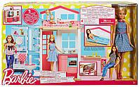 Игровой набор дом Барби портативний двухэтажный домик с куклой Barbie DVV48