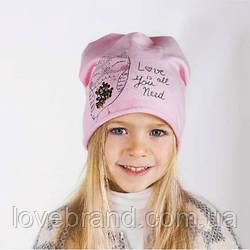 """Демисезонная шапочка на флисе для девочки в розовом цвете """"Совушка"""" 48 см"""