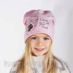"""Демисезонная шапочка на флисе для девочки в розовом цвете """"Совушка"""""""