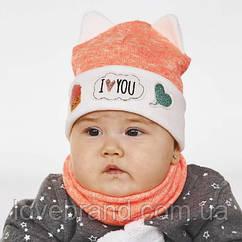 Набор хомут ! демисезонная шапочка для девочки в цвете неоновый персик