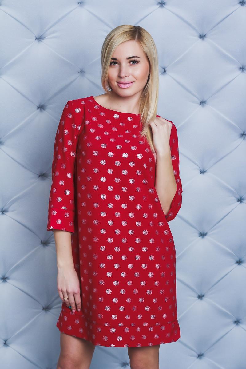 Платье женское короткое красное