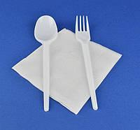 Набор № 7 - Ложка, Вилка белые, Салфетка, 1 набор
