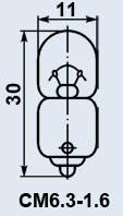Лампа СМ 6,3-1,6 B9s/14