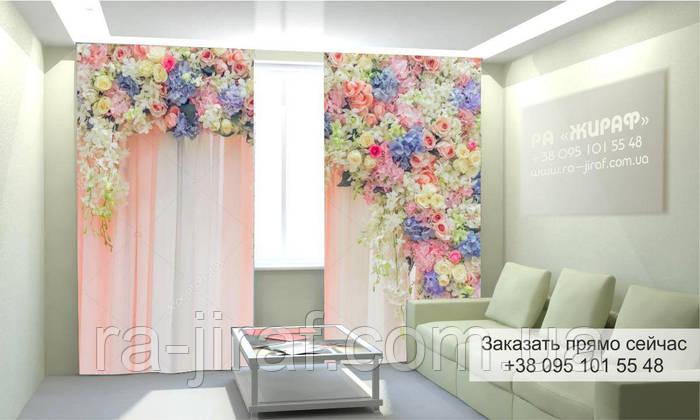 Фотоштора 3D с рисунком цветы вверху 003, фототюль