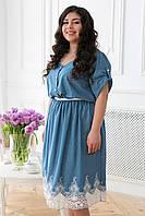 Джинсовое платье с кружевом