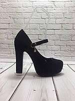 Туфли в замше на устойчивом не большом каблуке с 34 размера
