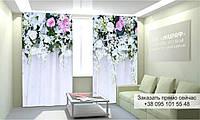 Фотоштора 3D с рисунком цветы вверху 005, фототюль