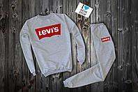 Трикотажный серый костюм Levis logo