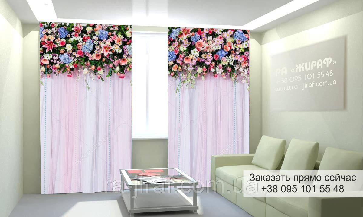Фотоштора 3D с рисунком цветы вверху 008, фототюль