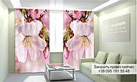 Фотоштора 3D с рисунком цветы вверху 011, фототюль