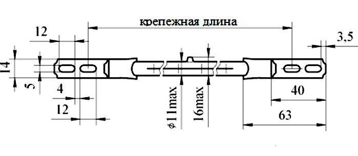 Лампа кварцевая галогенная тепловая КГТ 220v - 1000w -4  П14/63