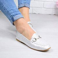 Туфли лоферы Lorri серебро эко-кожа, фото 1