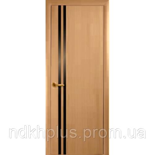 Двери межкомнатные Вита экошпон с черным стеклом