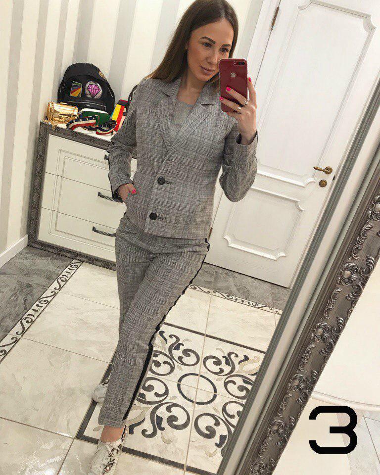 Модный костюм брюки и пиджак с лампасами