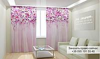 Фотоштора 3D с рисунком цветы вверху 012, фототюль
