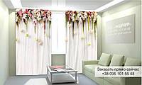 Фотоштора 3D с рисунком цветы вверху 013, фототюль