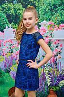 Платье-футляр детское для девочки подростка электрик 134, 140, 146, 152см