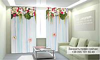 Фотоштора 3D с рисунком цветы вверху 014, фототюль