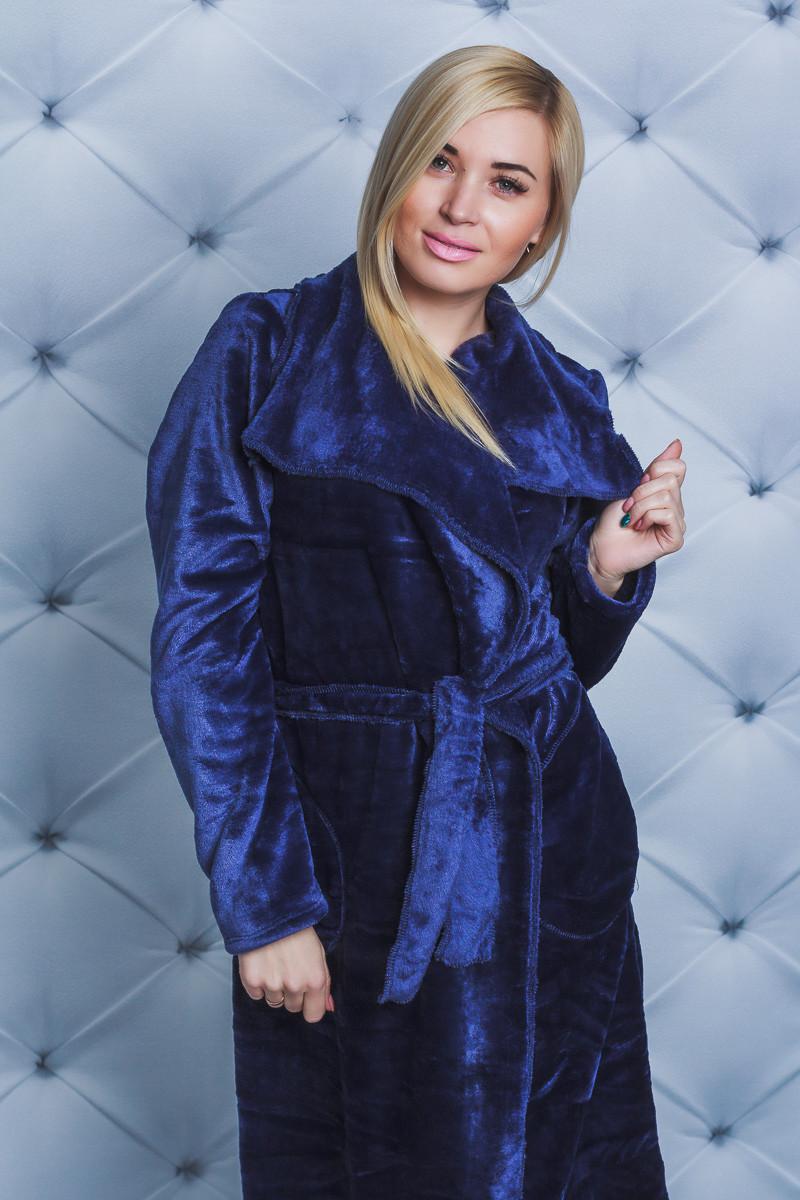 Халат махровый женский т-синий