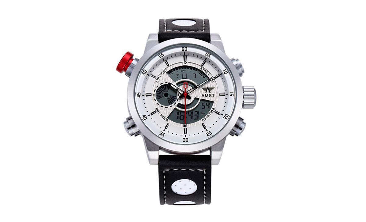 Наручные часы AMST AM3013 Мужские наручные водонепроницаемые часы, Бело-Серые-Черные (SUN0222)