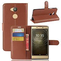 Чехол Sony L2 / H4311 / H3311 / H3321 / H4331 книжка PU-Кожа коричневый