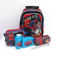 Набор детский чемодан - рюкзак + сумка + пенал + ланчбокс + бутылка, Spider Man Человек Паук 520334