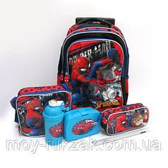 Набор детский чемодан - рюкзак + сумка + пенал + ланчбокс + бутылка, Spider Man Человек Паук