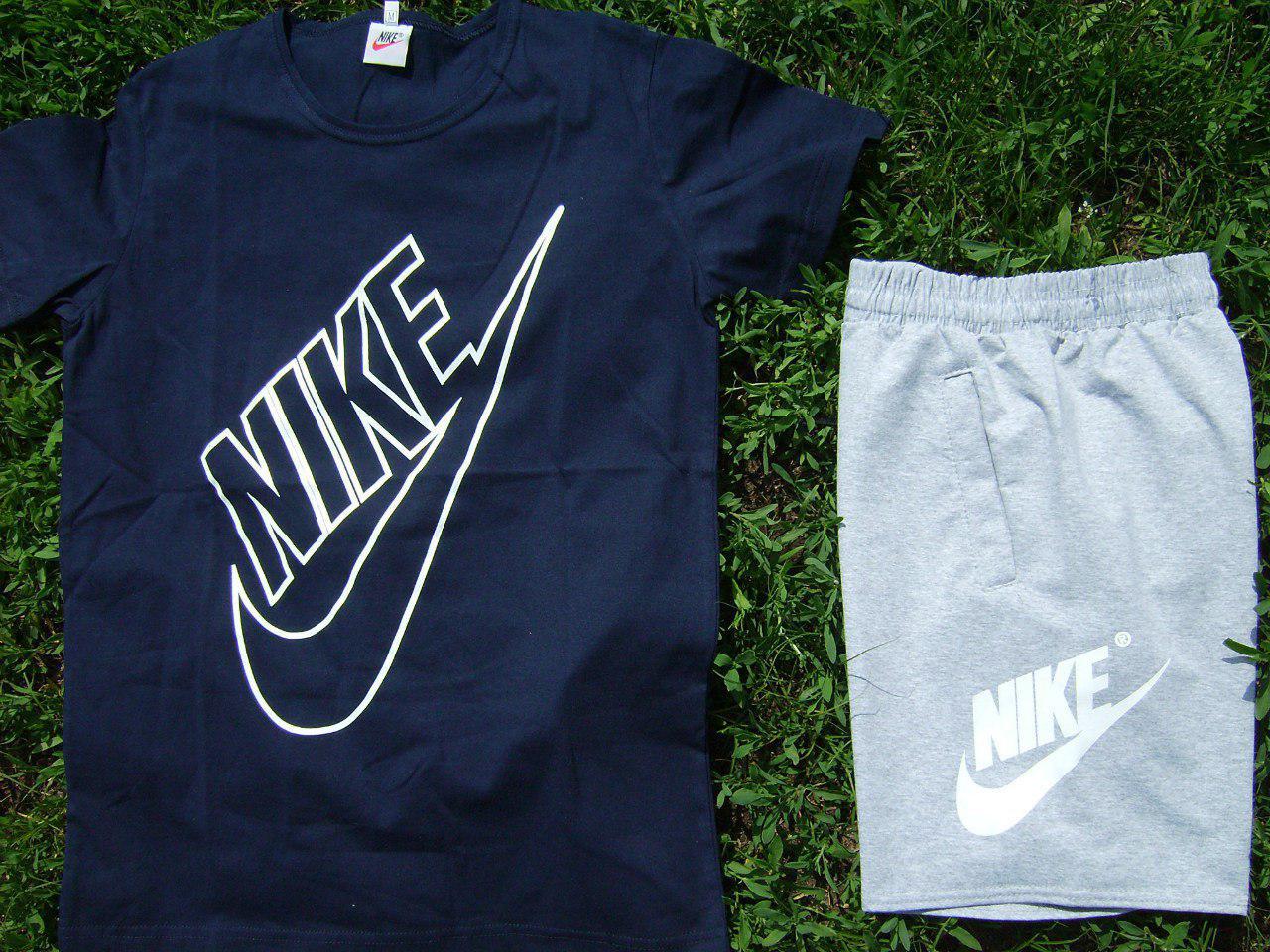 Мужской комплект футболка + шорты Nike синего и серого цвета (люкс копия)