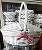 Плетеная корзина с тканевым мешком и крышками, 42х32 см. белая