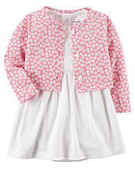Платье для девочки Carter's (Картерс) + болеро в белом и розовом цвете